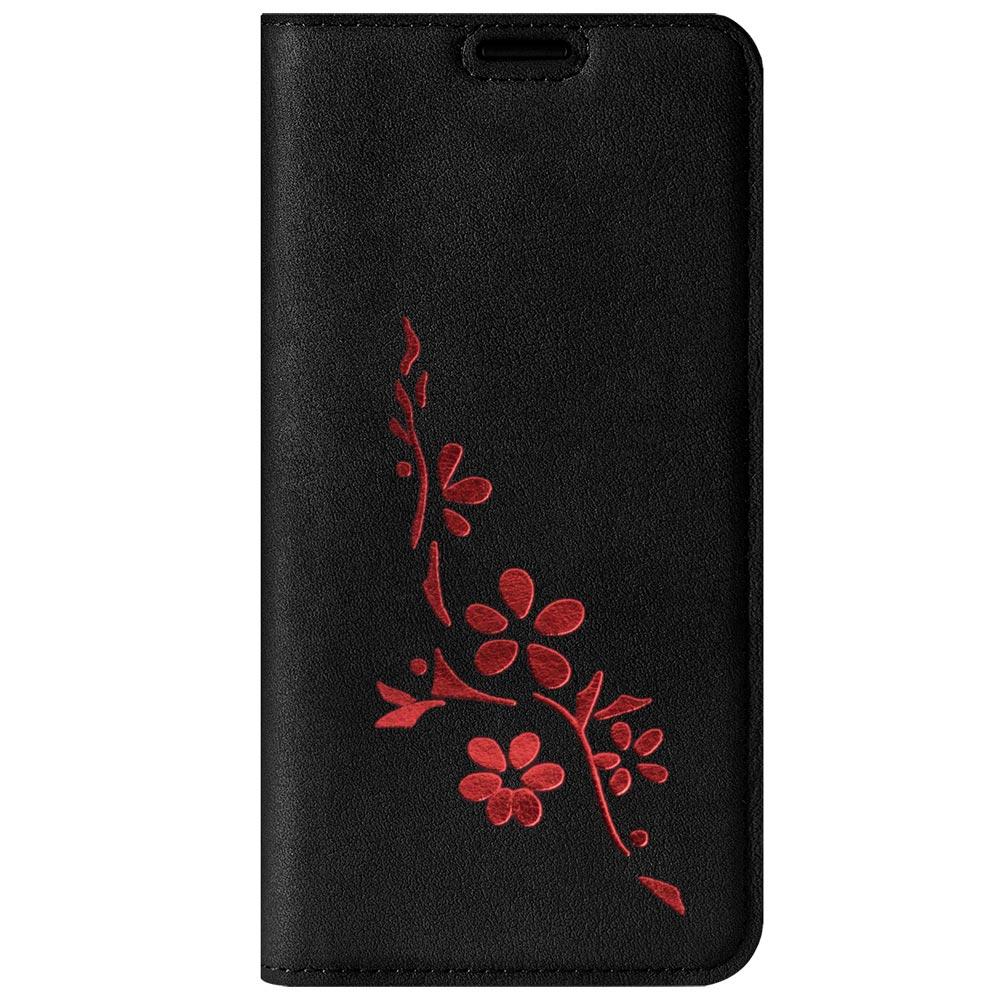 Smart magnet RFID - Nubuck Black - Flowers red
