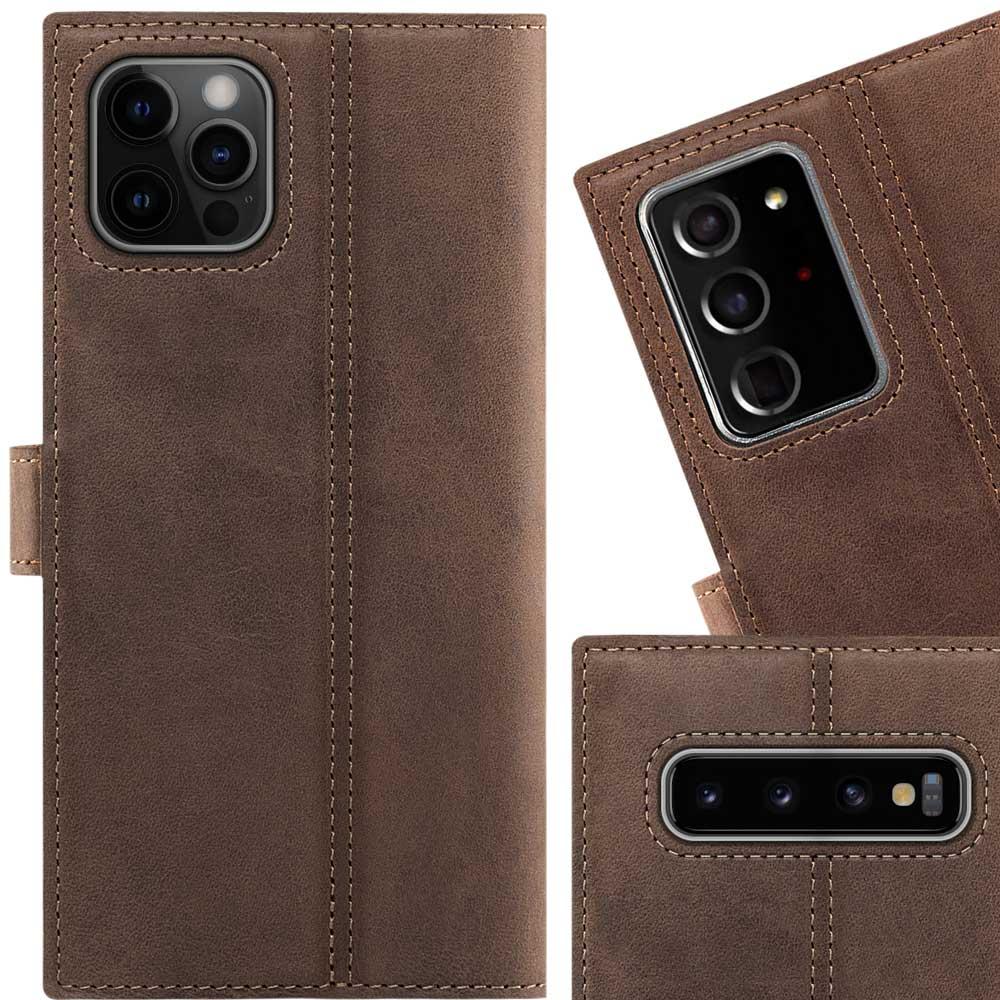 Surazo® Leather Wallet phone case Nubuck - Nut brown