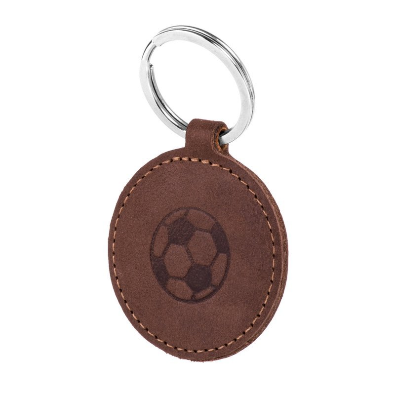 Surazo® Smart Magnet RFID case - Nubuck Nut brown - Soccer ball