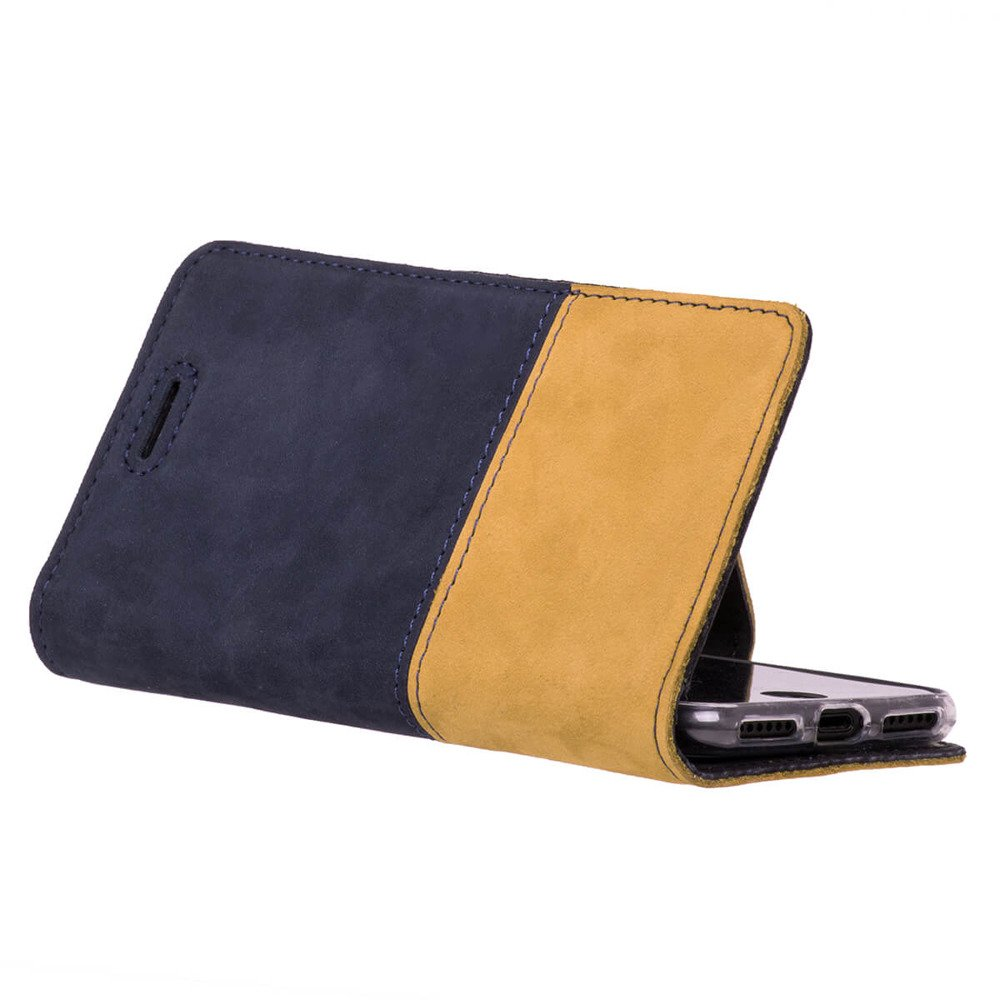 Surazo® Two-tone Horizontal Wallet phone case - Navy blue and Camel