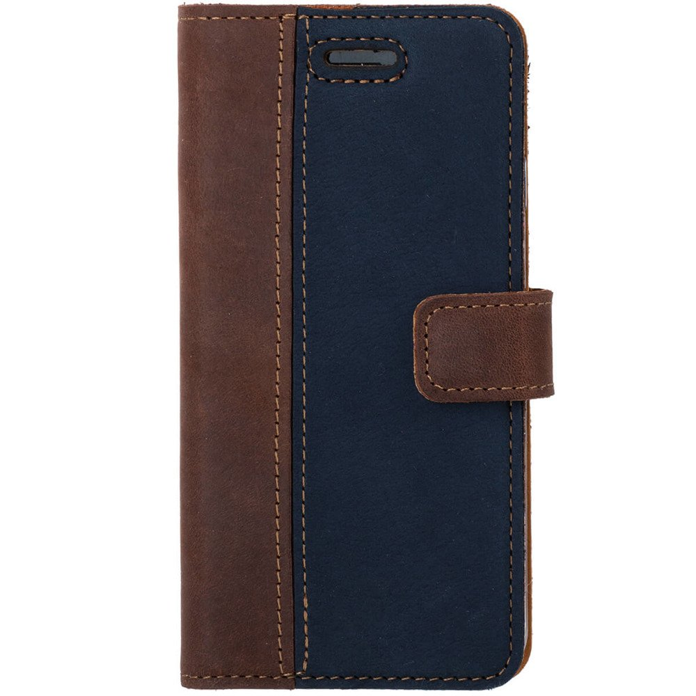Surazo® Two-tone Wallet phone case - Nut and Navy blue