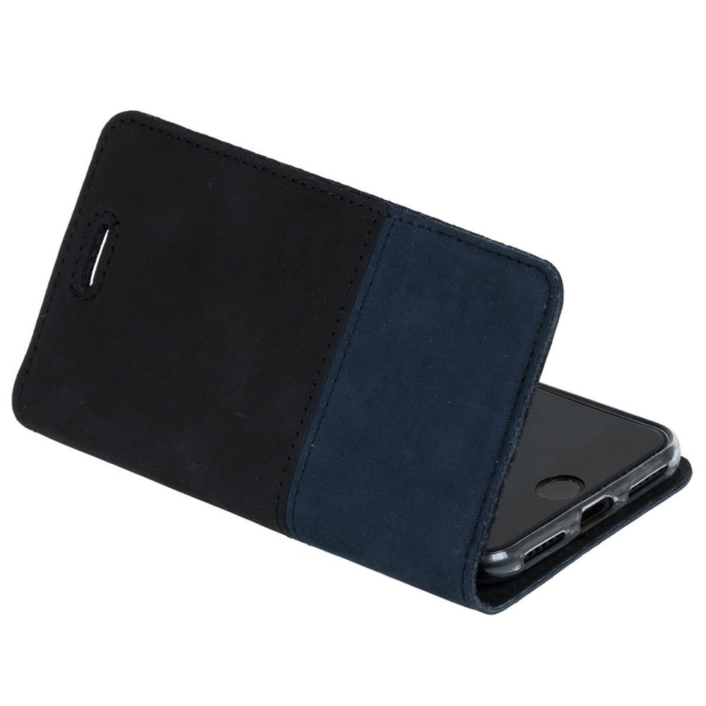 Surazo® Two-tone Horizontal Wallet phone case - Black and Navy blue