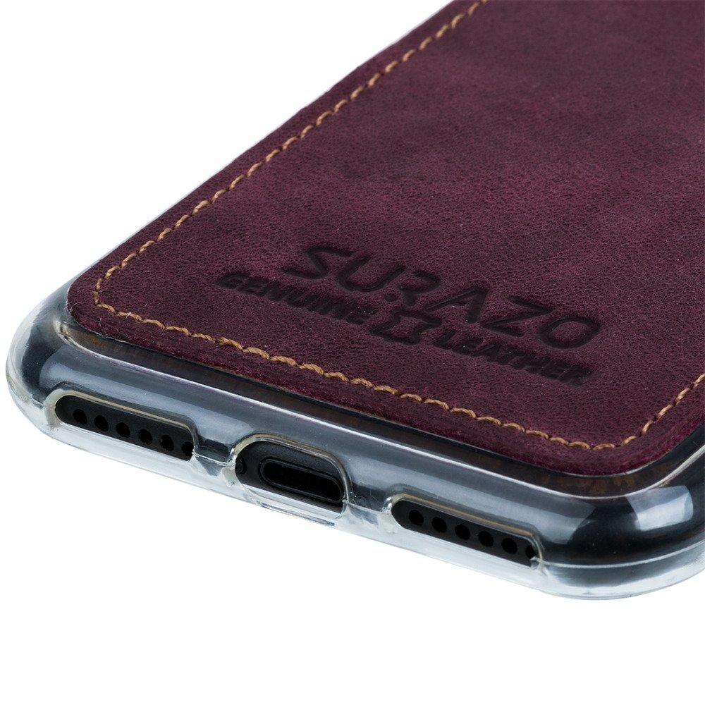 Surazo® Back case Lederhülle Nubuk - Burgund