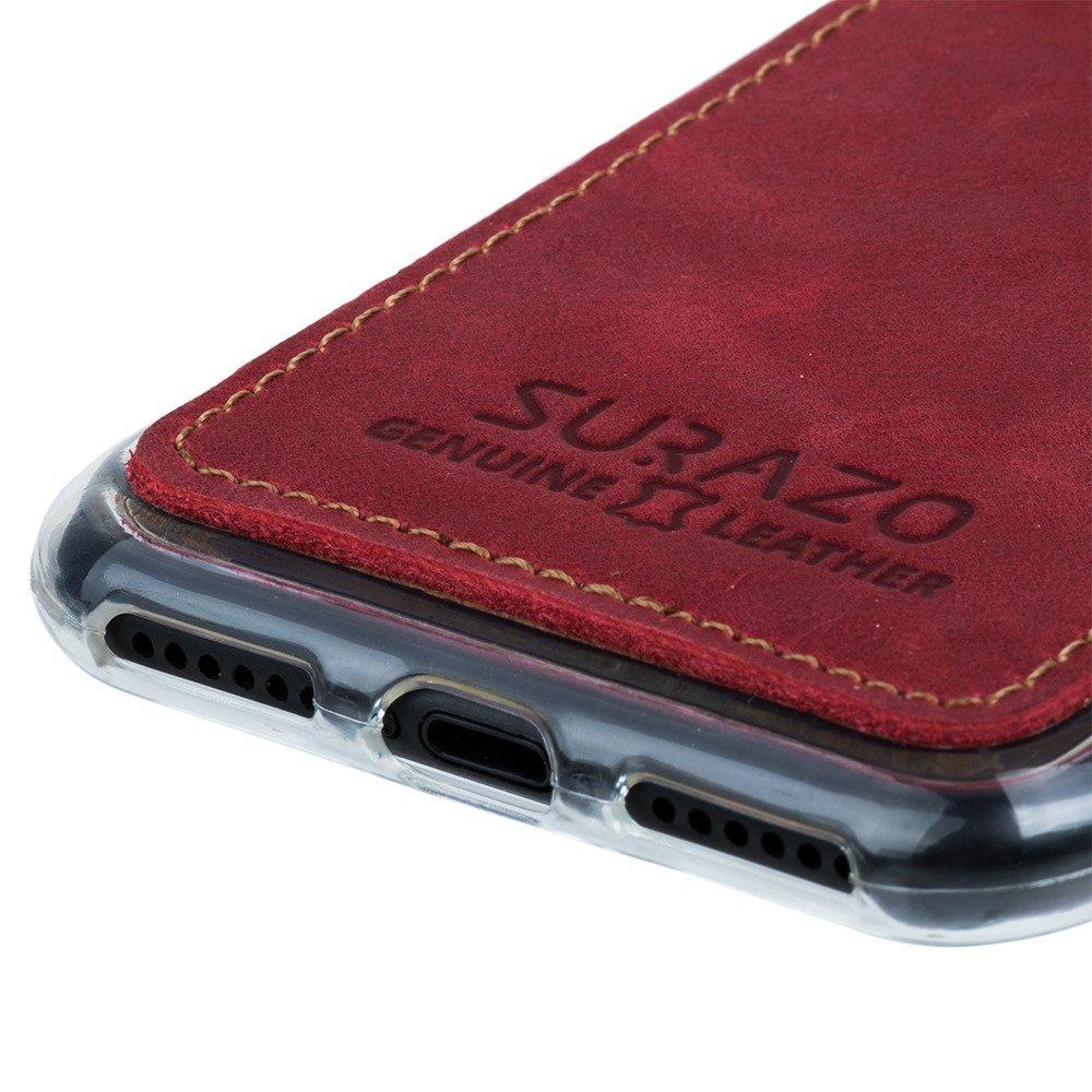 Surazo® Back case Lederhülle Nubuk - Rot