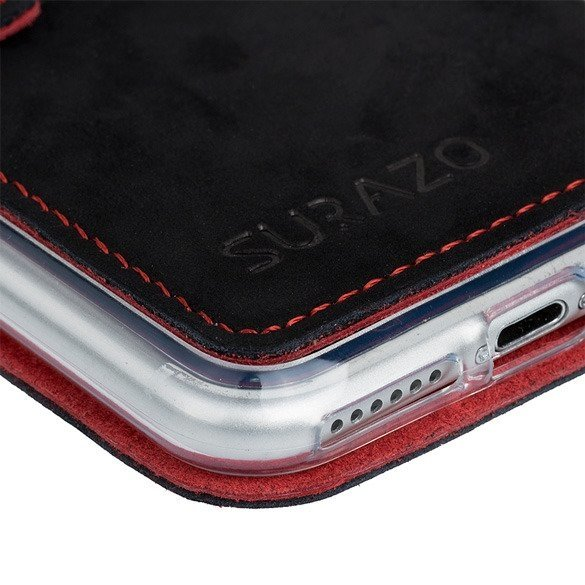 Surazo® Slim cover Lederhülle F1 - Schwarz und Rot
