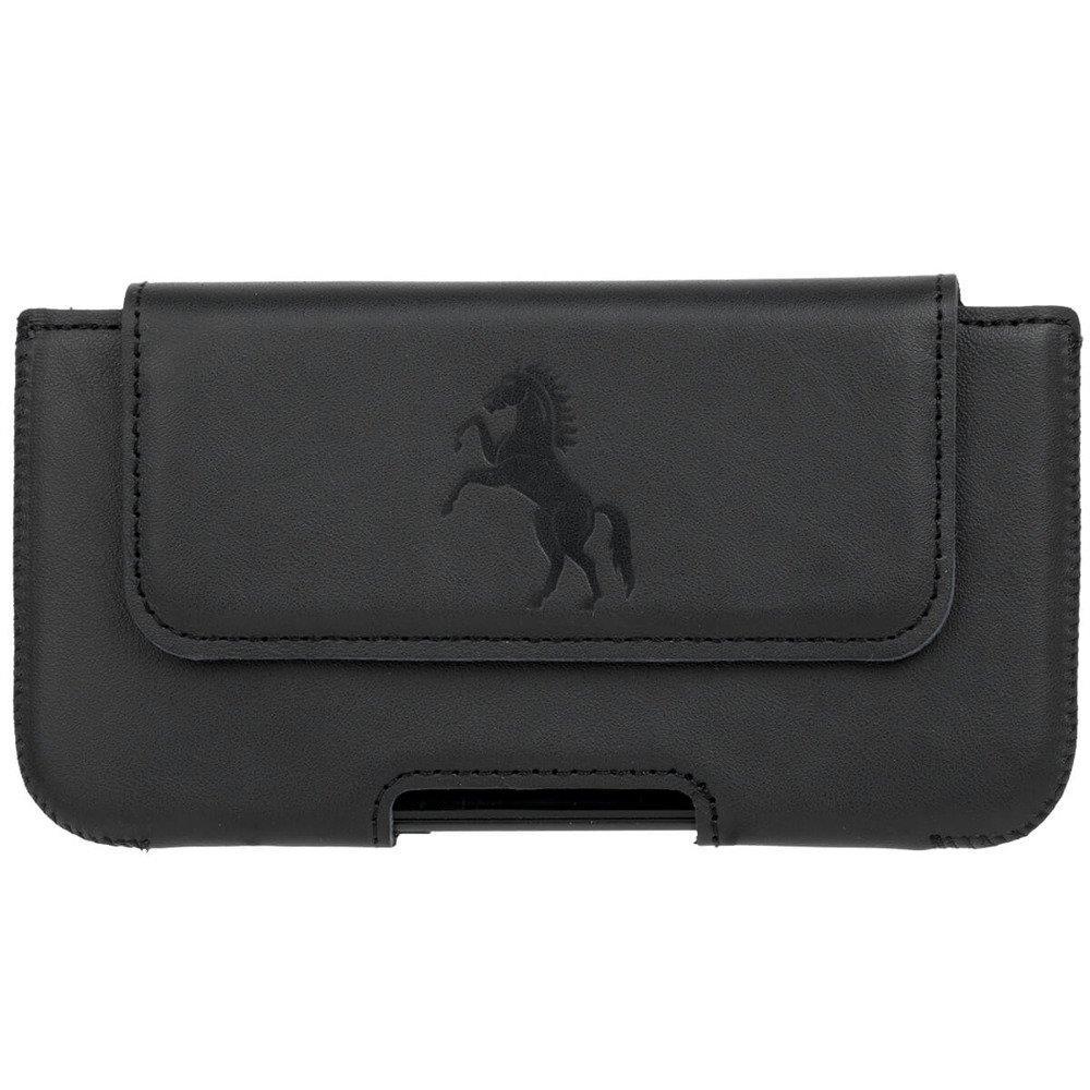 Surazo® Skórzane Etui Belt case - Dakota Czarny - Koń