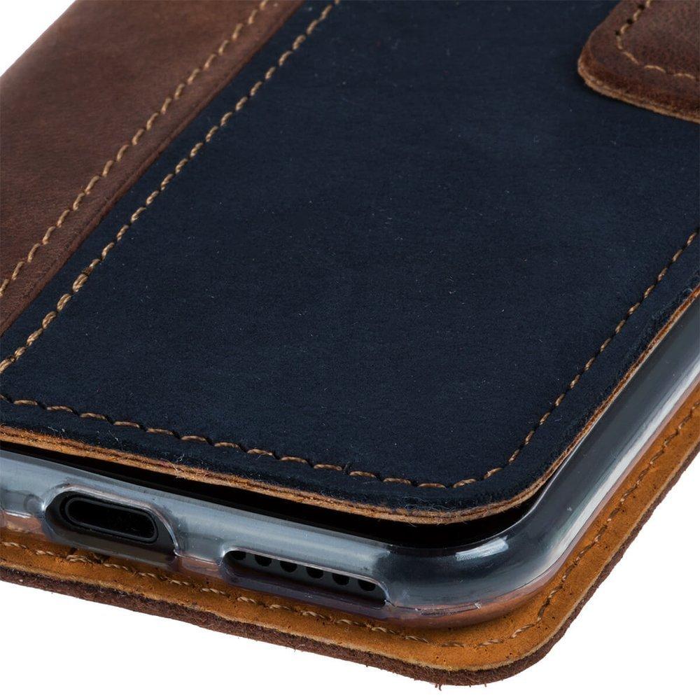 Surazo® Wallet case Duo Nubuk - Orzechowy i Granatowy