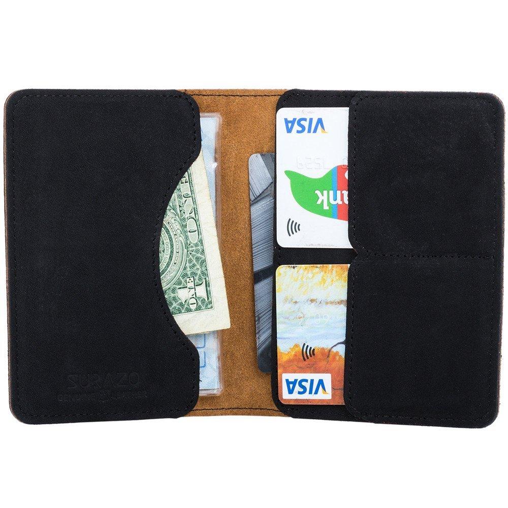 Surazo Skórzany portfel RFID Nubuk - Czarny